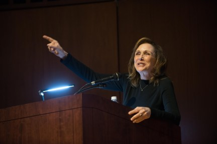 Anne Druyan, Emmy and Peabody award-winning writer and producer, and widow to Carl Sagan, introduces Lord Rees.