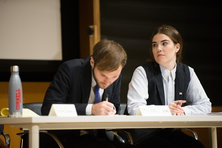 Olivia Corn '19 and Michael Johns '20 defeat the Cornell Democrats in a debate on Tuesday.