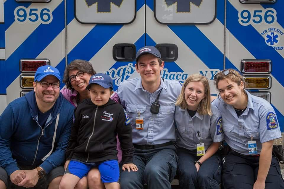 Officer Colin spends time with Cameron Yates '18 and Bangs Ambulance, Ithaca's ambulance service.