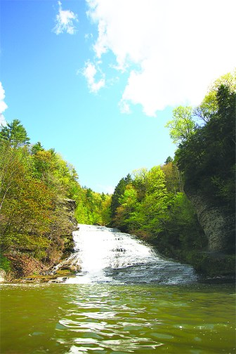 Buttermilk Falls is a hotspot for swimmers and hikers enjoying Ithaca's warmer weather.