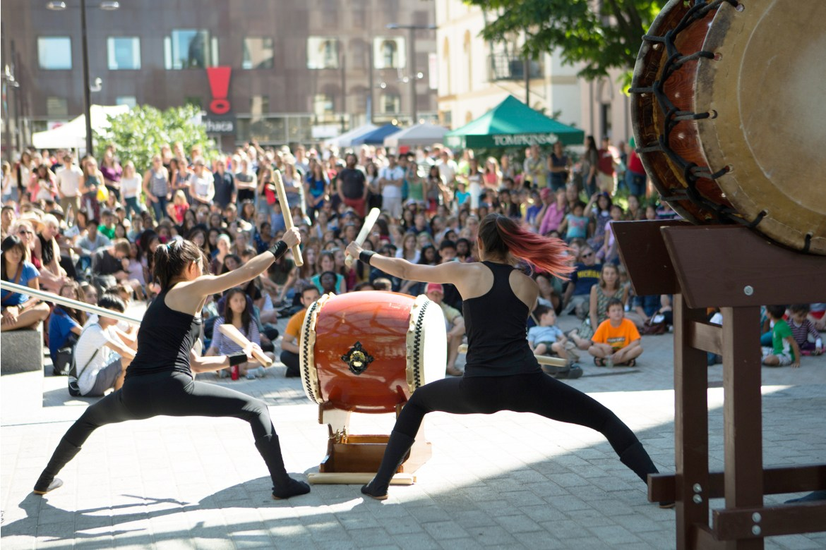 Yamatai, Cornell's student-run Japanese drumming team, welcomes visitors with a performance at last year's C.U. Downtown.