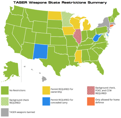 A map depicting the Taser laws of each state