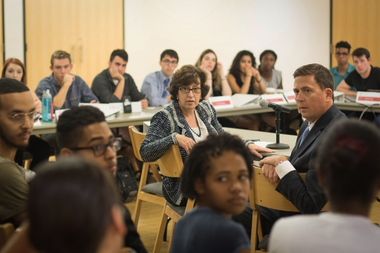 Cornell President Martha Pollack and Vice President for Student and Campus Life Ryan Lombardi listen to student concerns at the Student Assembly meeting in RPCC on September 7th, 2017 (Michael Wenye Li / Sun Assistant Photography Editor)