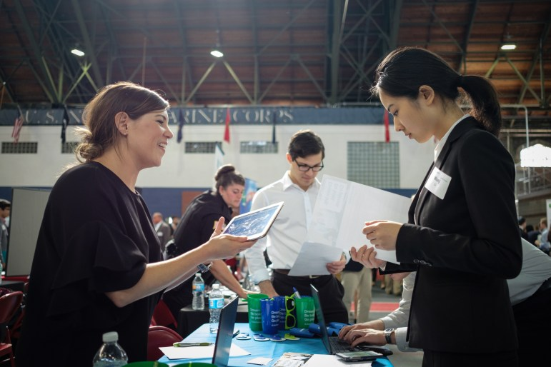 Hopeful students attend the Career Fair held at Barton Hall on September 7th, 2017. (Michael Suguitan / Sun Staff Photograph).