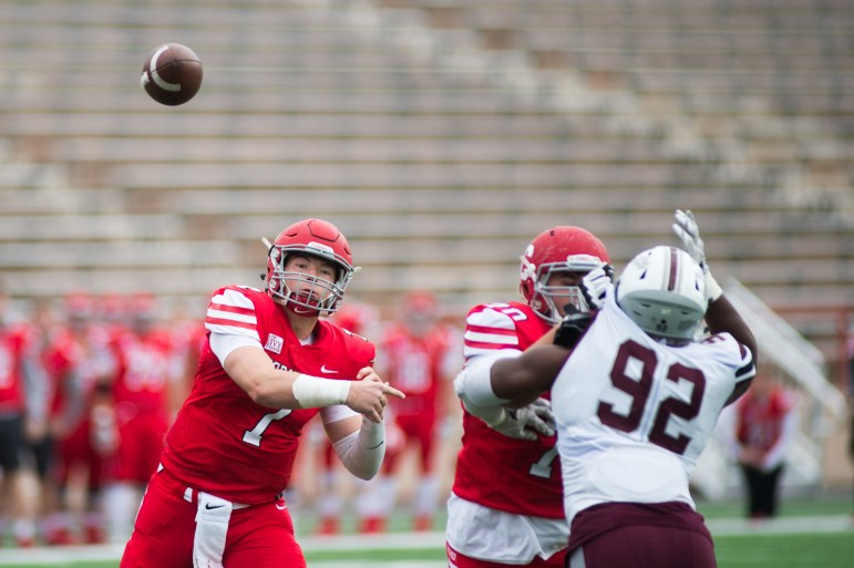 Junior quarterback Dalton Banks launches a pass attempt against Colgate. The junior threw four interceptions on the day, bringing his season total to nine.