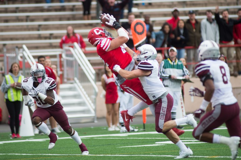 Senior tight end Hayes Nolte sets up Cornell's only touchdown of the day with a 26-yard reception to the 1-yard line.