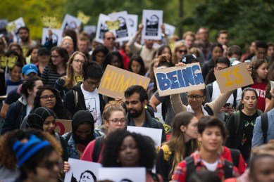Students and community members march up Ho Plaza at the Cornell DREAM Team's protest against the recision of the Deferred Action for Childhood Arrivals program earlier this week, September 8th, 2017.
