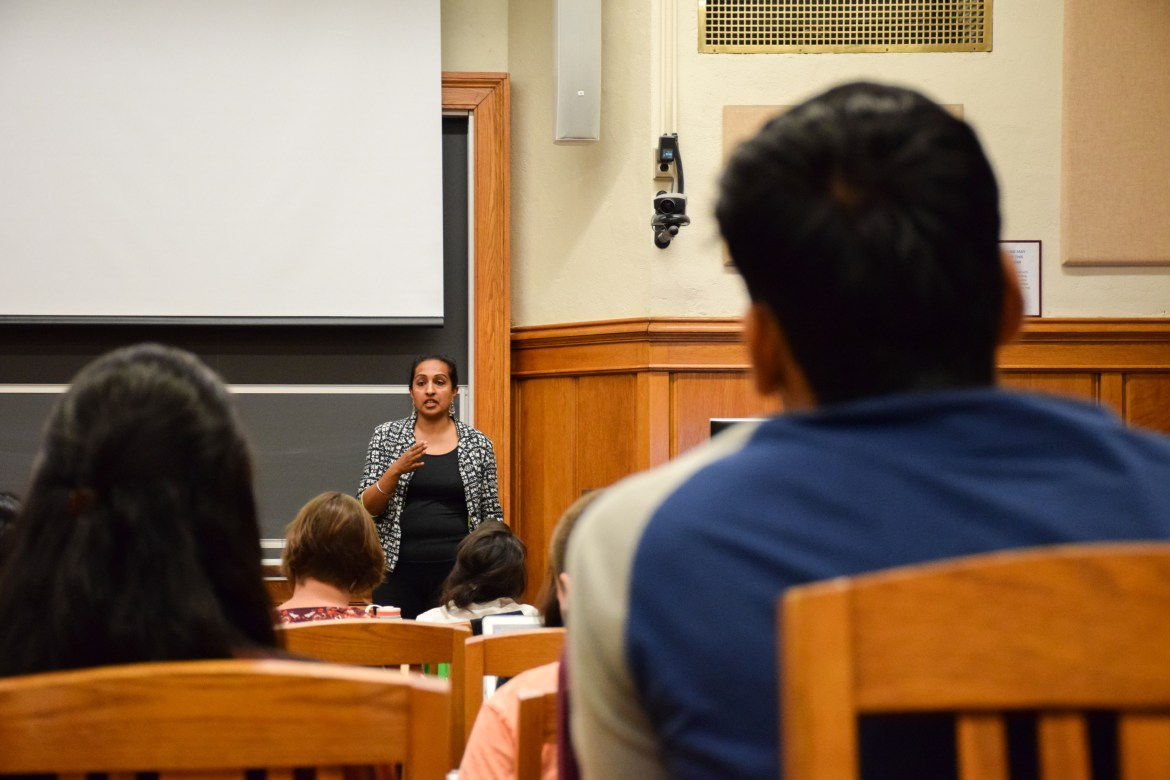 Jameen Kaur addresses a student's question at Myron Taylor Hall on September 28th, 2017.