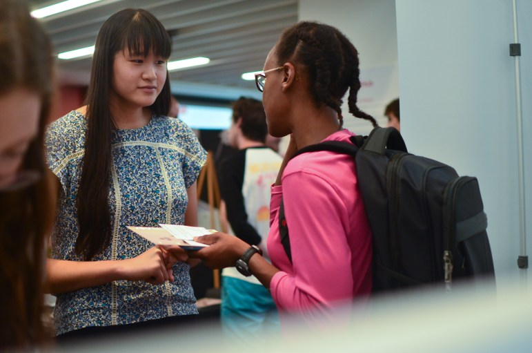 Students exchange ideas at the Entrepreneurship Kick Off in eHub Kennedy Hall on September 13th, 2017. (Emma Hoarty / Staff Photographer)
