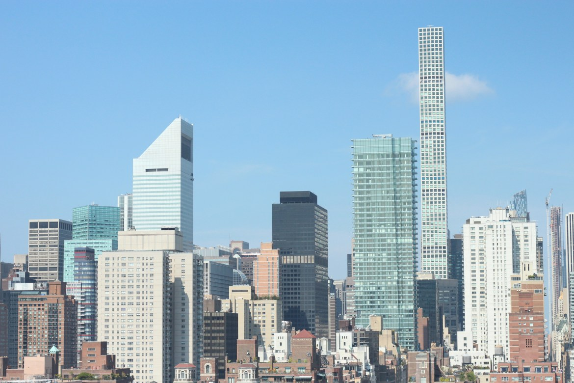 A view of Midtown Manhattan from the 26th floor of Cornell Tech's residential building The House.