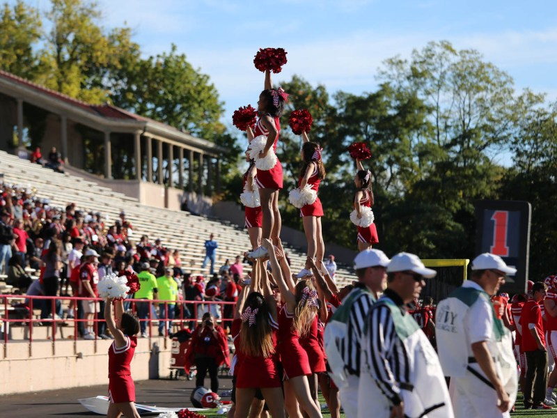 Cornell cheerleaders during last year's homecoming football game.