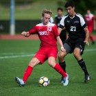 Freshman midfielder Tommy Hansan (pictured) scored two second half goals to propel the Red to a win Friday night.