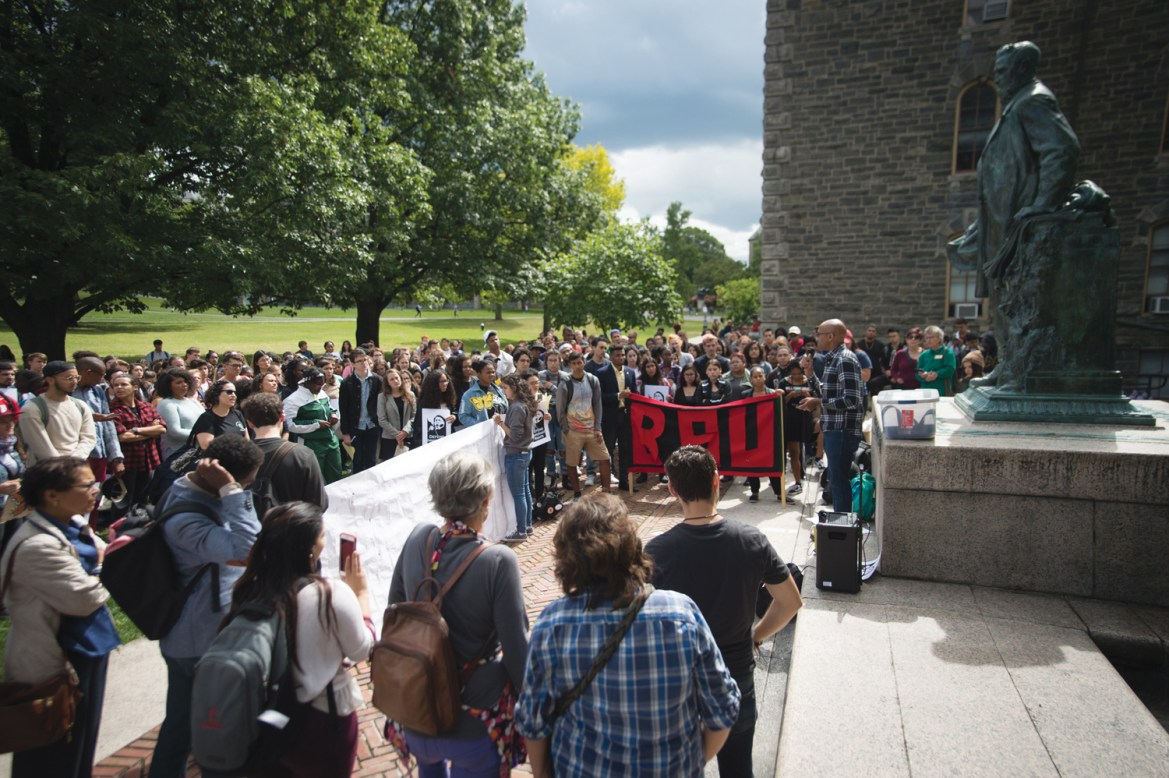 Black Students United gather a rally for DACA students in September. Following the assault of a black student in Collegetown, Black Student organizations from schools in the Ivy League have voiced solidarity for BSU.