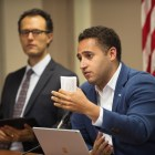 Svante Myrick '09 at Ithaca's Common Council on Thursday evening, when the council voted to replace Columbus Day with Indigenous Peoples' Day in the City calendar.