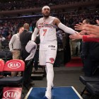 Carmelo Anthony of the New York Knicks during halftime in a game against the Philadelphia 76ers in New York, April 17, 2017.