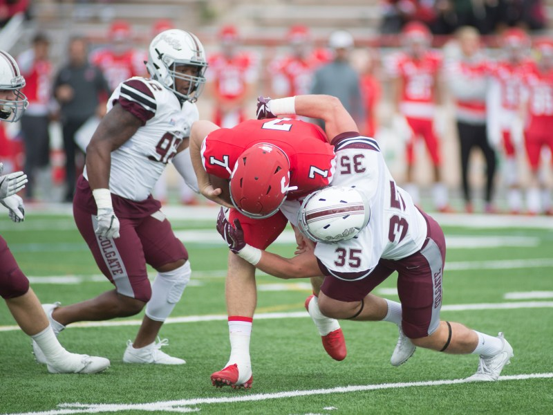 Quarterback Dalton Banks feeling the pressure during Cornell's loss to Colgate in early October.