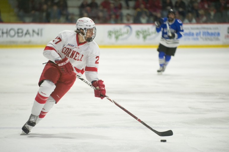 Freshman forward Morgan Barrok (pictured), a draft pick of the New York Rangers, scored in his collegiate debut as an example of a freshman making an immediate impact.