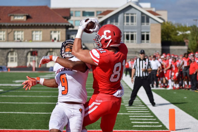 Sophomore wide receiver Davy Lizana hauls in his first career touchdown against Bucknell.