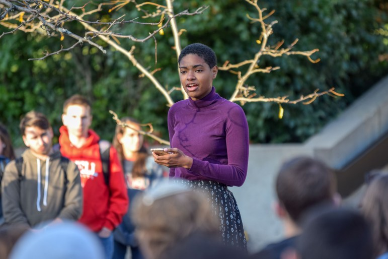 """The crowd listens to speakers at the """"Stand Together"""" rally on Ho Plaza, Oct. 23, 2017, two days after anti-semitic posters and stickers were found across campus . (Boris Tsang/Staff Photographer)"""