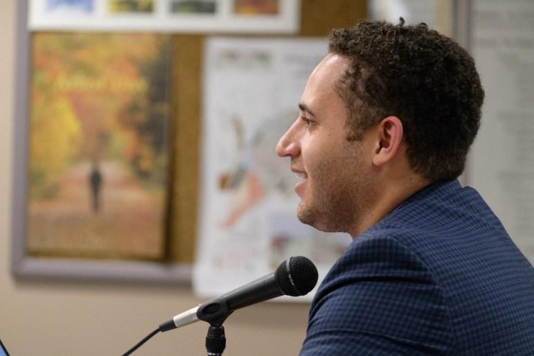 Mayor Svante Myrick '09 at Common Council's budget meeting at City Hall on Thursday, Oct. 26.