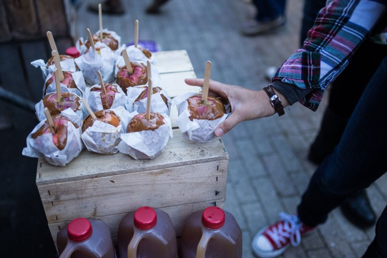 Caramelized apples are one of the most sought after foods at the festival.