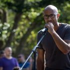 Prof. Rickford speaks at the knee-in protest last Wednesday. He joined Black Lives Matter in Ithaca in 2015 and has been a founding member of Cornell Coalition for Inclusive Democracy since last year.