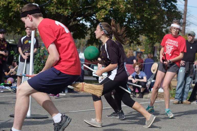 The festivities allowed enthusiasts to try their hand at a version of Quidditch.