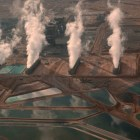 A still from Koyaanisqatsi, comparing the built world and the natural world.