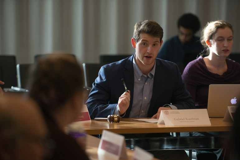 Gabriel Kaufman '18, chair of the University Assembly, speaks at the U.A.'s meeting on Oct. 17, 2017.