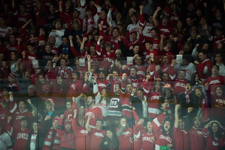 """The """"Lynah Faithful"""" cheer on Cornell's nationally-ranked hockey teams."""