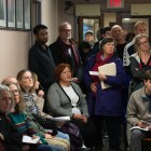 People crowd Ithaca City Hall at the Common Council meeting on Wednesday, Nov. 1, to hear the final verdict on the Chacona Block's historical designation. (Cameron Pollack/ Sun Photography Editor)