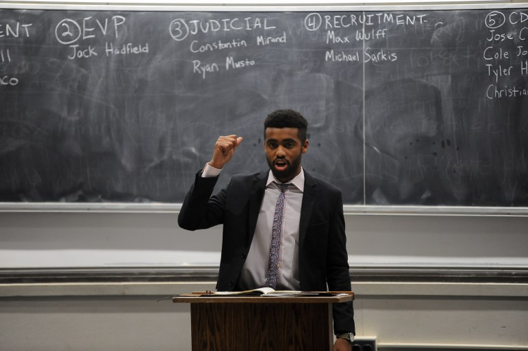 Paul Russell '19, a brother in Delta Chi and a columnist for The Sun, was elected Cornell Interfraternity Council's new president on November 9th, 2017. (Boris Tsang/ Sun Staff Photographer)