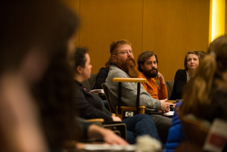 Elijah Joseph Weber-Han grad, who works at Cornell Cinema, speaks to assembly members at the GPSA's meeting in Klarman Hall, Nov. 6, 2017. (Cameron Pollack / Sun Photography Editor)
