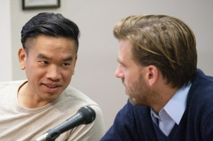 Ducson Nguyen, left, and Seph Murtagh, the alderpeople for Ithaca's Second Ward, at a budget committee meeting at Ithaca City Hall on Thursday, Oct. 26, 2017