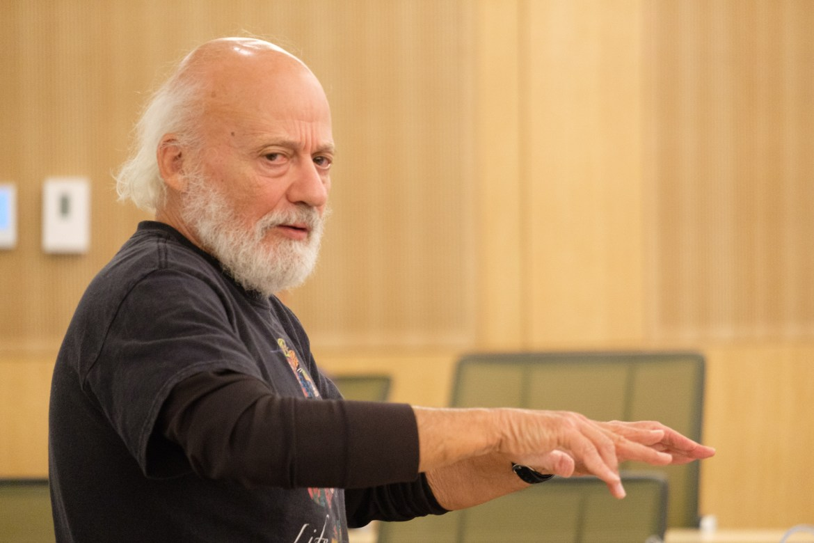 Ben and Jerry's chairman Jeff Furman spoke on social impact at a Sustainable Enterprise Association event at the Brezzeano Center on Thursday, 2 Nov. (Michael Suguitan / Sun Staff Photographer).
