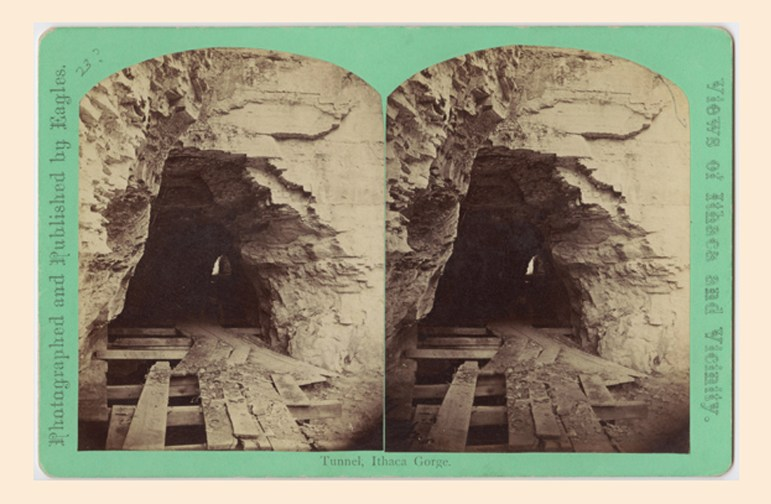 Ezra Cornell's Tunnel, which Ezra Cornell began building in 1830 and is pictured here in 1868.