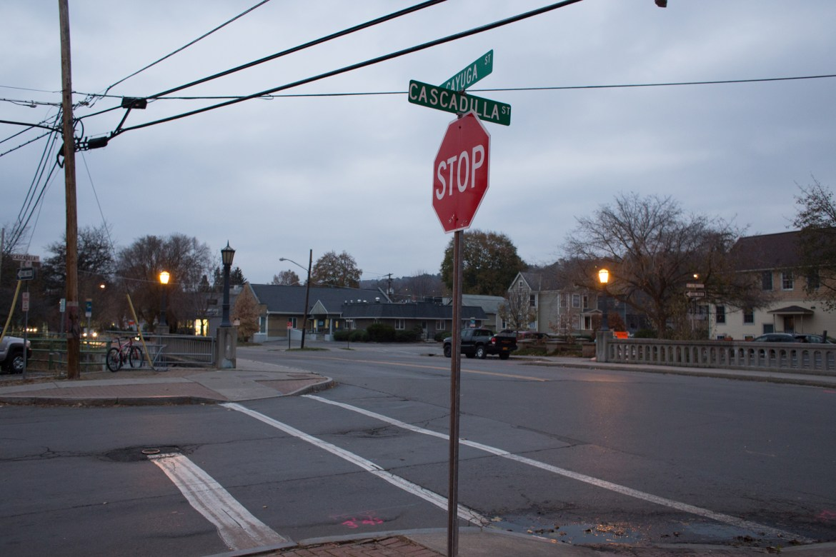 The Ithaca Board of Public Works decided  to add an all-way stop to the intersection of Cascadilla and Cayuga streets (above) at its Monday meeting.