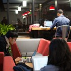 Students work late into the night at eHub.