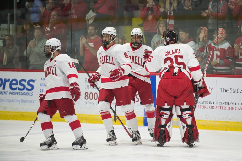 Freshman goalie Matt Galajda (#35) has been a pleasant surprise for Cornell in net and resembles a ready-to-contribute freshman class.