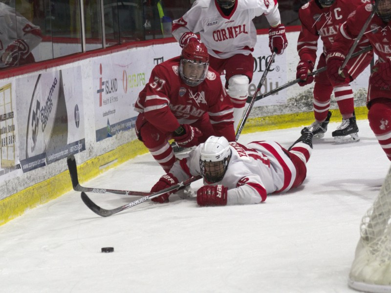 Cornell finishes the de facto first half of the season an impressive 10-2 overall. Above, then-junior Trevor Yates battle for a puck during the Red's two-game home sweep over Miami (OH) last season.