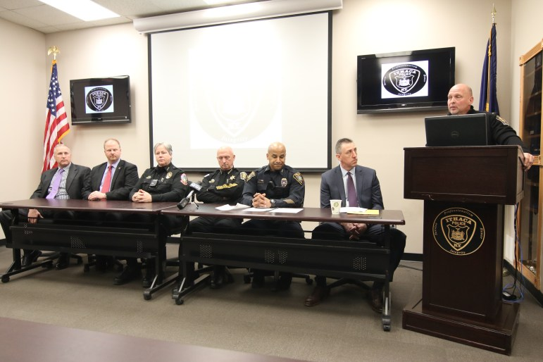 Lt. Daniel Donahue, far right, of the Tompkins County Sheriff's Office, speaks at a press conference on Saturday, Jan. 27, 2018. At center, representatives of multiple police agencies who participated in the task force.