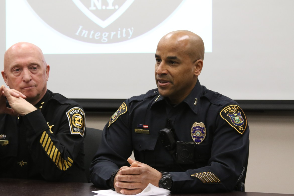 Pete Tyler, right, will retire as chief of police on May 31 after serving in the police force for 28 years.