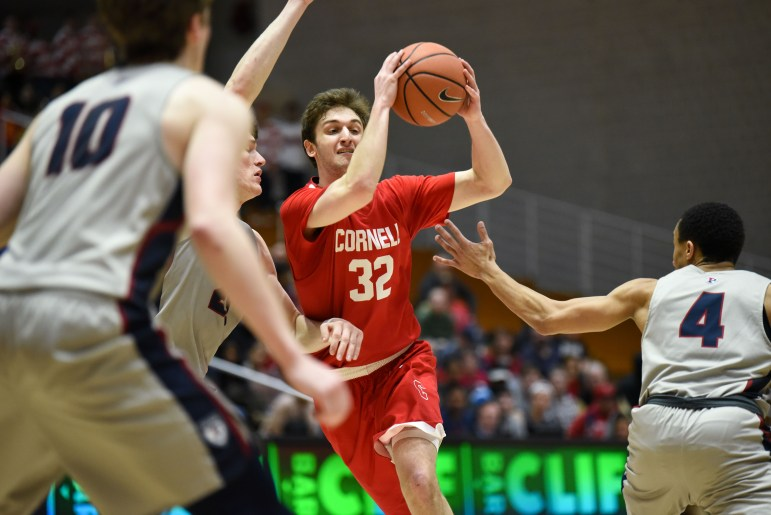 Cornell fought to keep the score close against top-ranked Penn but ultimately failed to close the gap, falling 71-79. (Boris Tsang/Sun Staff Photographer)