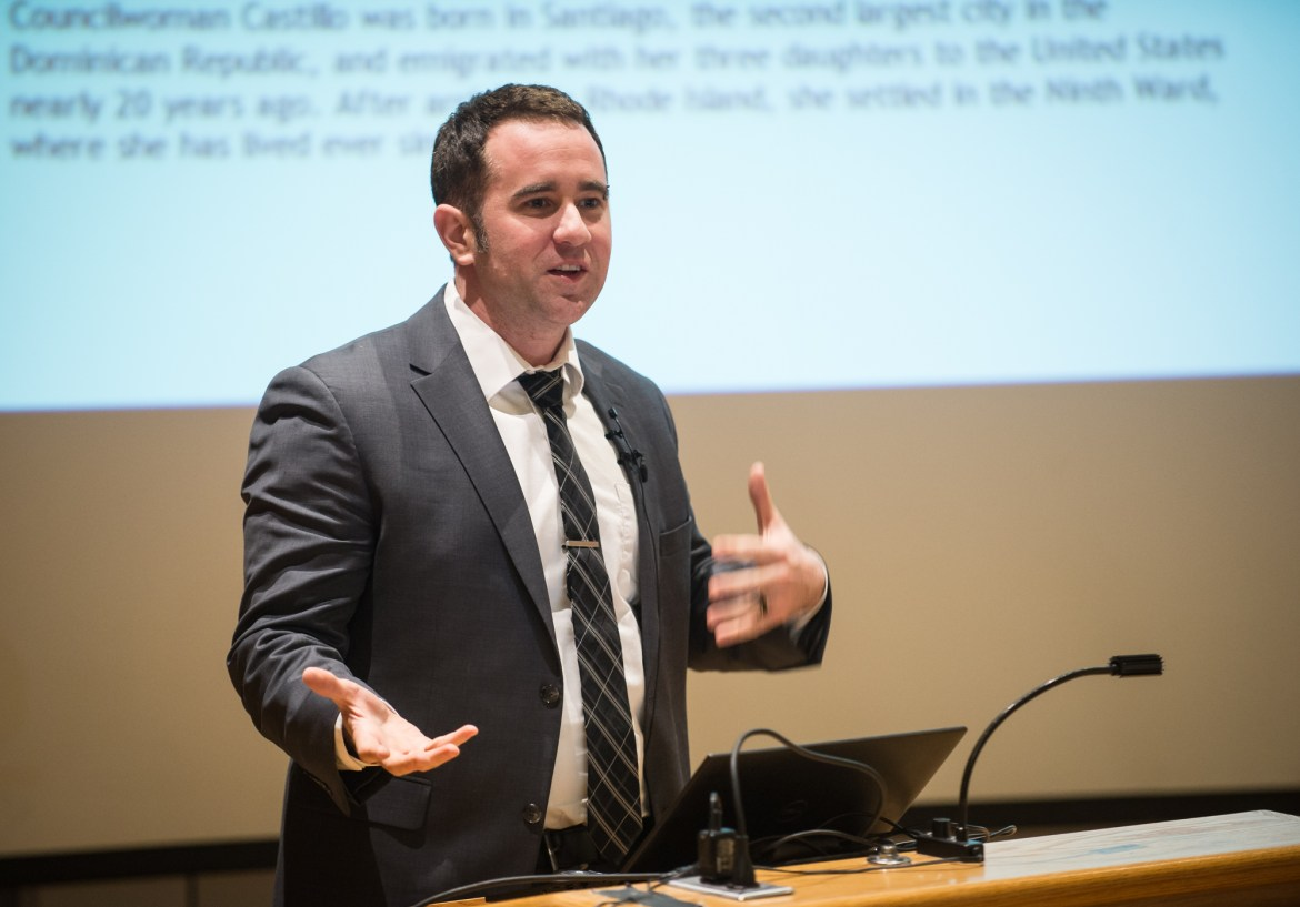 Prof. Nicholas Carnes, political science, Duke University, discussed economic inequality in government in a talk on Monday.