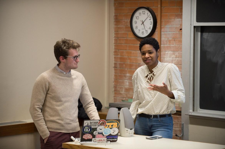 Natalie Brown '18 speaks at an info session on a Mental Health Task Force in Rockefeller Hall, Feb. 6, 2018.