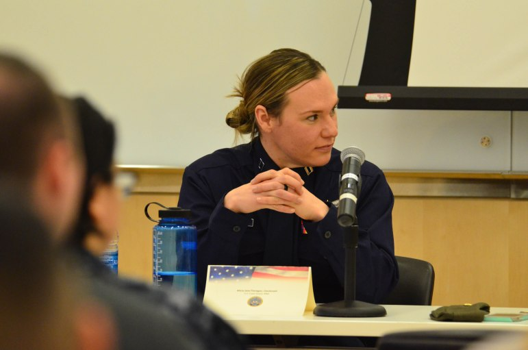 Lt. Alicia Jane Flanagan was one of six military women who spoke in a panel honoring Women's History Month on Wednesday.