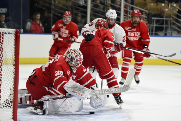 Cornell's offense struggled to get past B.U. goaltender Jake Oettinger, who made 30 saves during the game on Saturday.