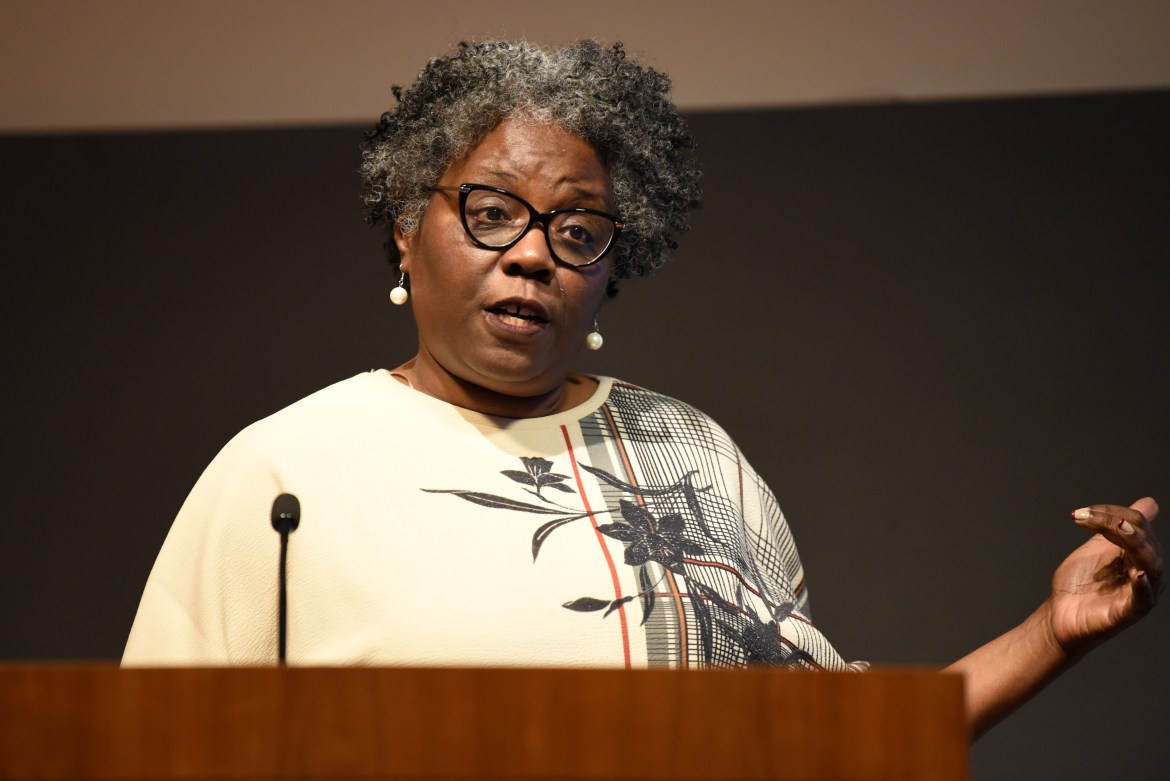Prof. Noliwe Rooks led a discussion about the impact of Cornell's expansion in New York City.