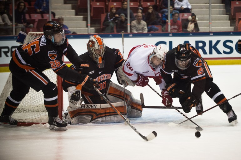 Despite a strong performance in the quarterfinals, the men's hockey team fell to lower-ranked Princeton at the ECAC semifinals in Lake Placid.