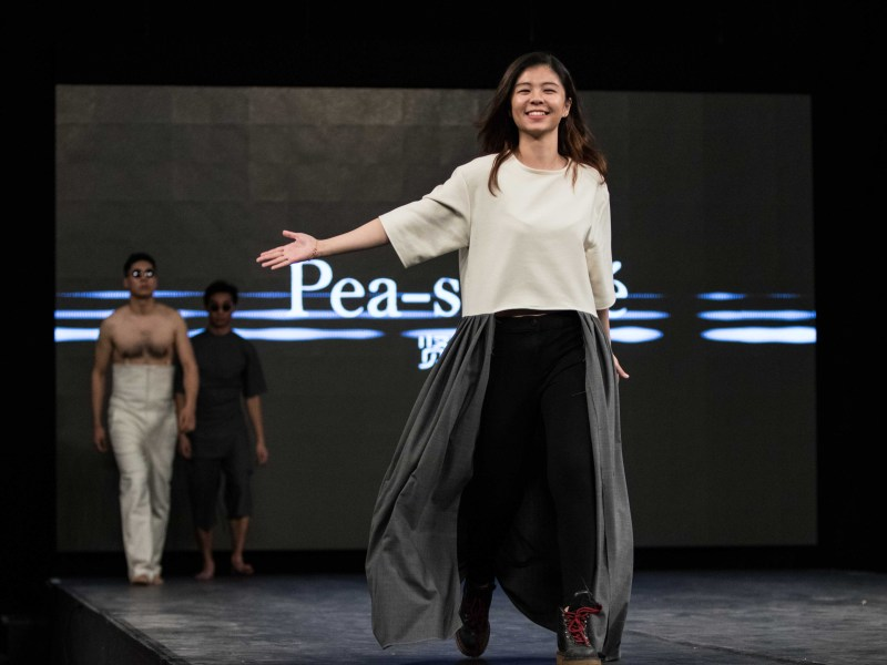 Lily Li '18 walks the runway after debuting her collection at the 34th annual CFC Runway Show.